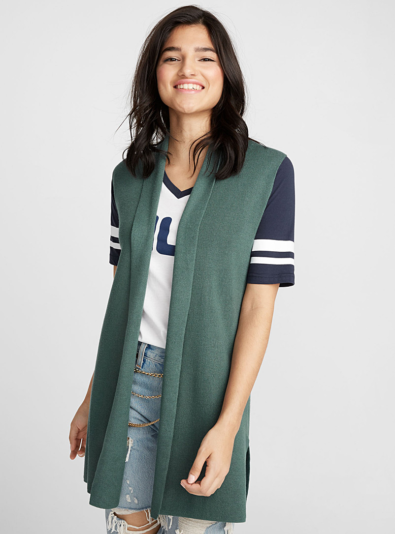 Sleeveless viscose cardigan - Cardigans - Mossy Green