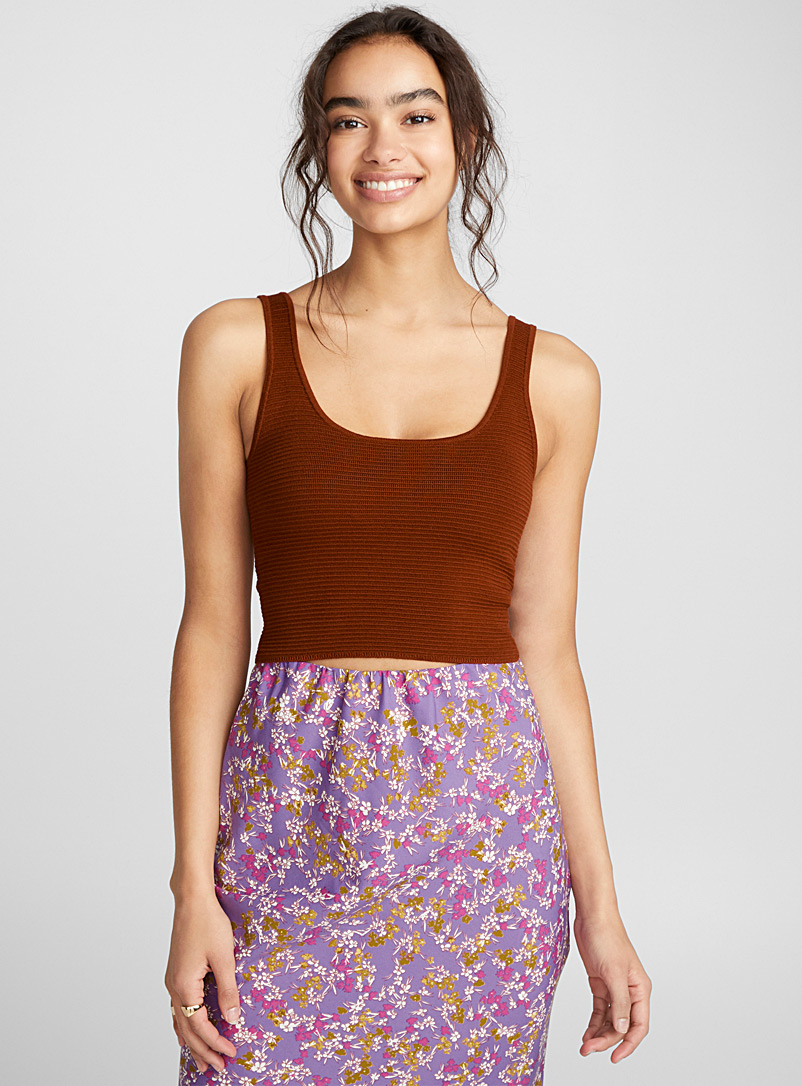 Cropped ottoman cami - Sweaters - Brown