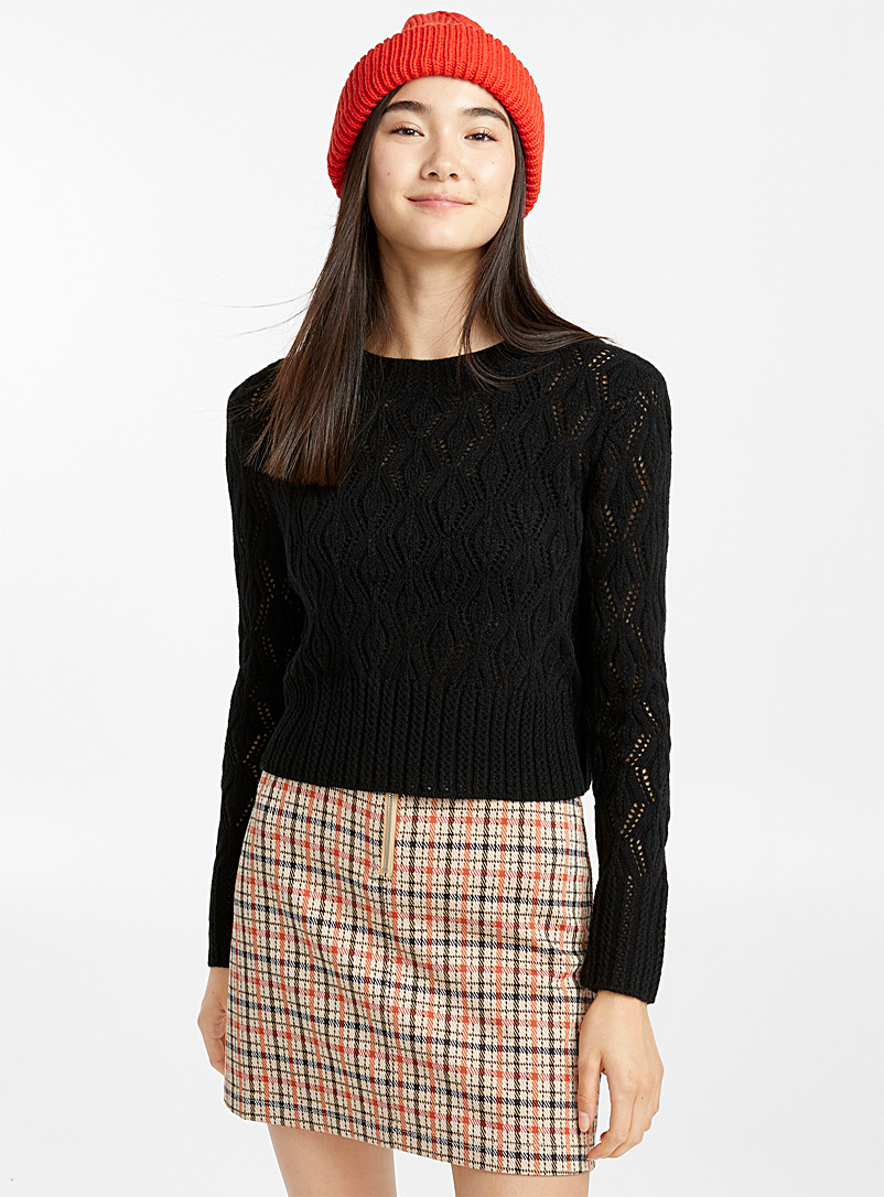 Pointelle wave sweater - Sweaters - Black