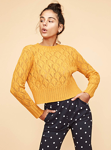 Pointelle wave sweater