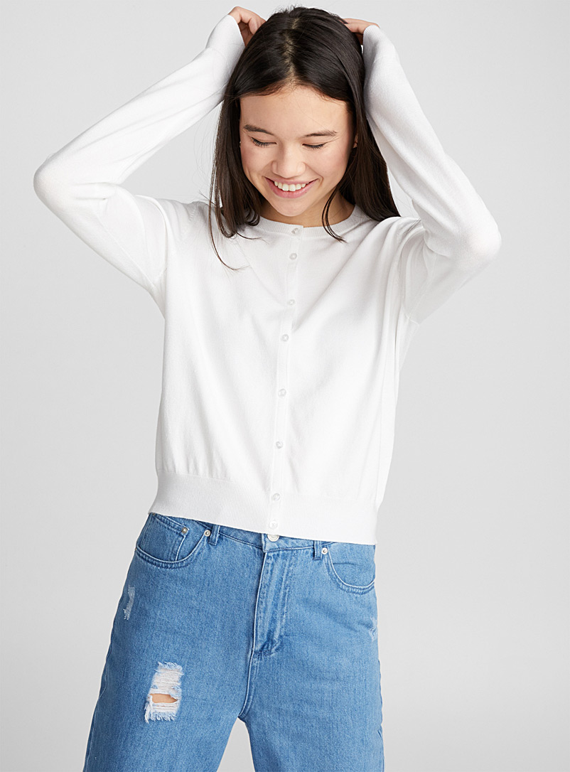 Buttoned cropped cardigan - Cardigans - White