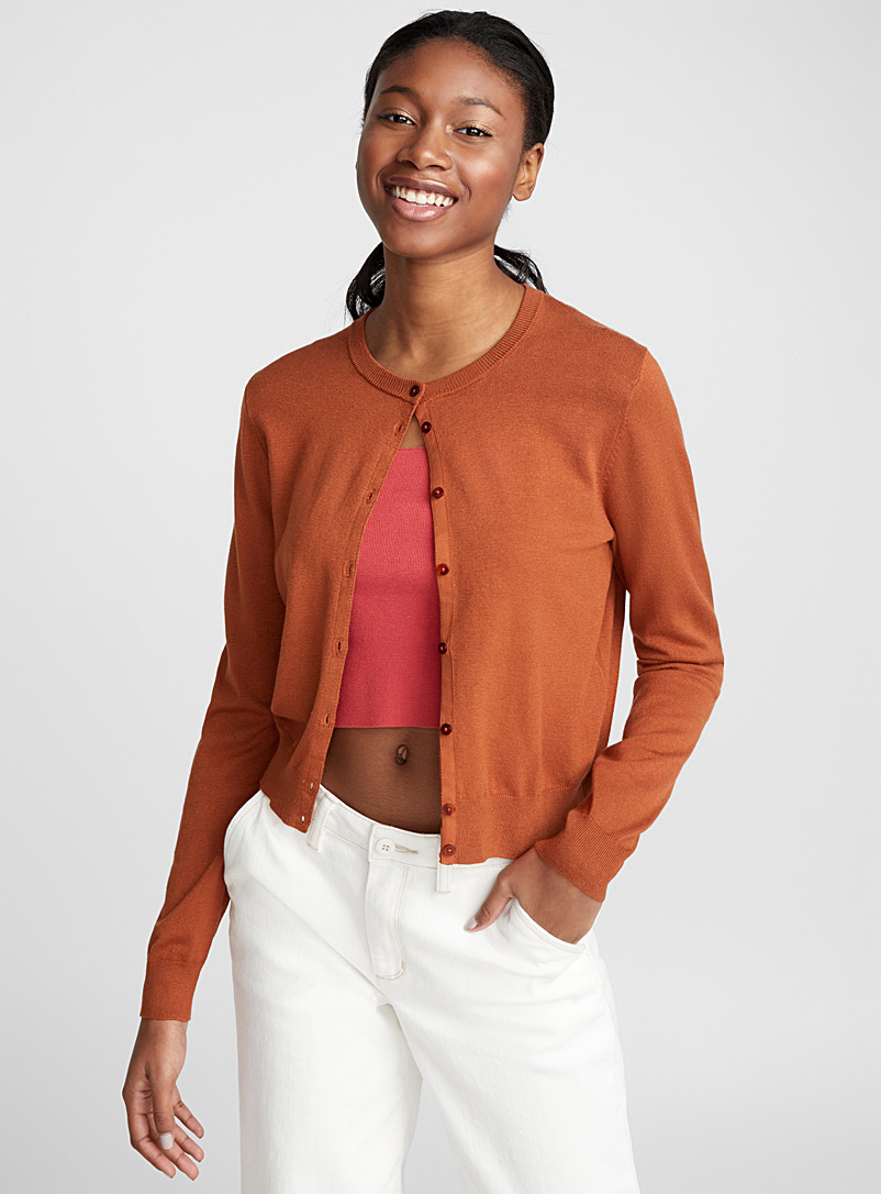 Buttoned cropped cardigan - Cardigans - Dark Brown
