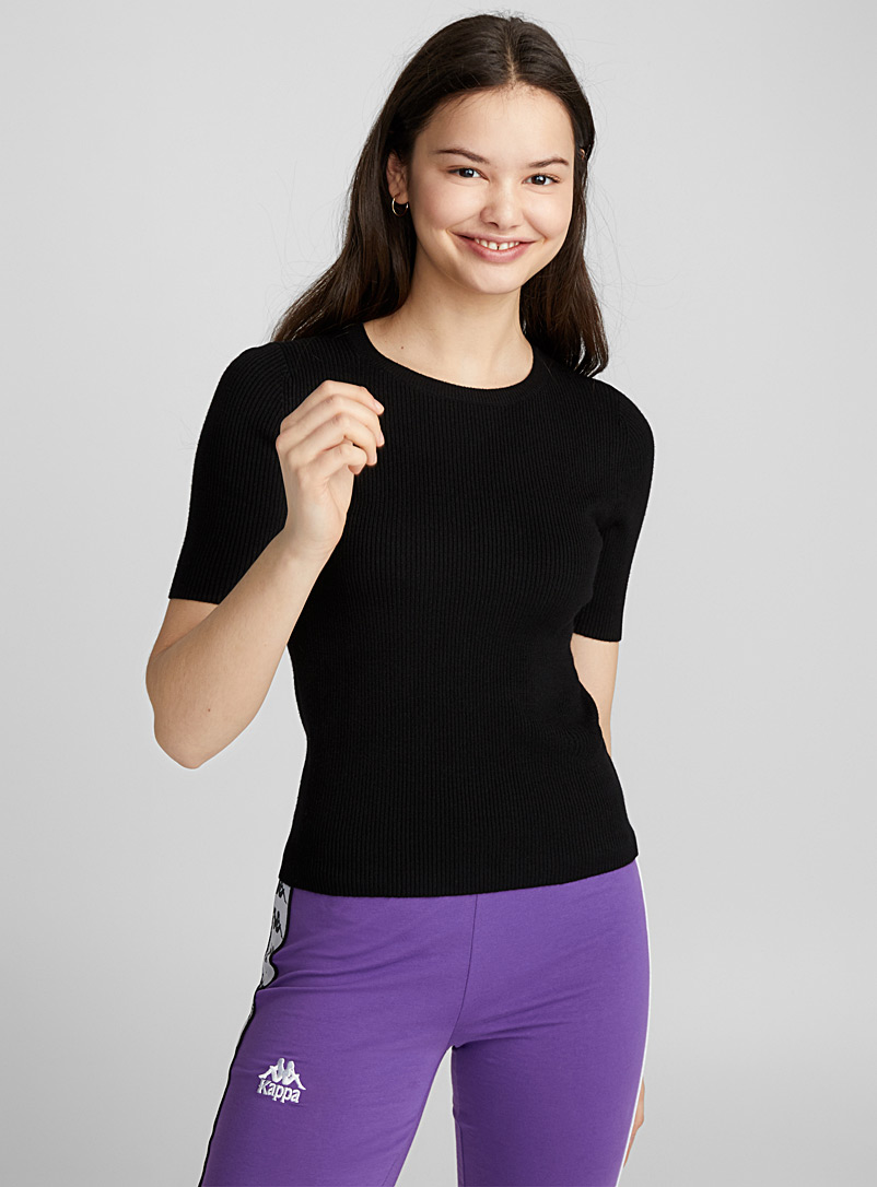 Ribbed short-sleeve sweater - Sweaters - Black