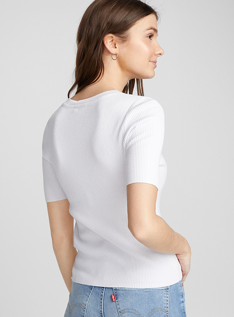 Ribbed short-sleeve sweater - Sweaters - White