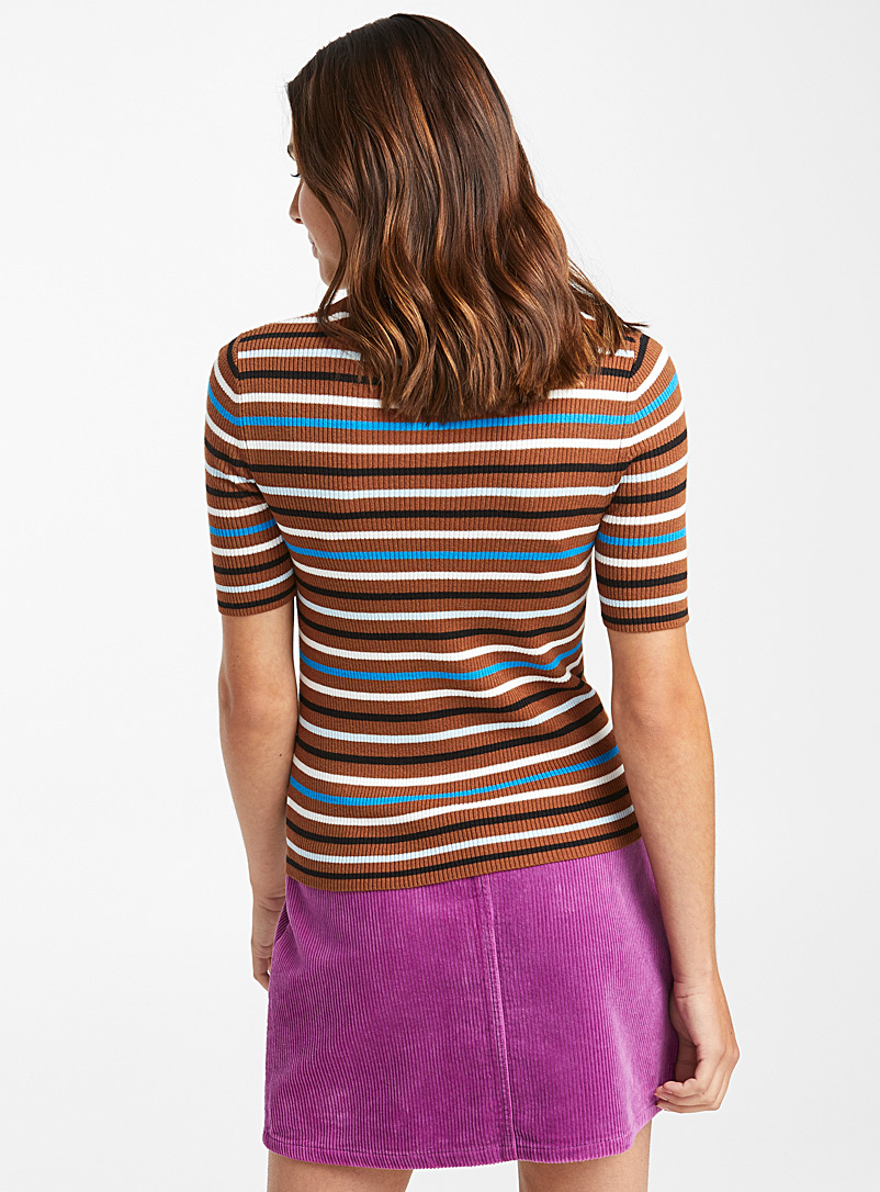 Ribbed short-sleeve sweater - Sweaters - Brown