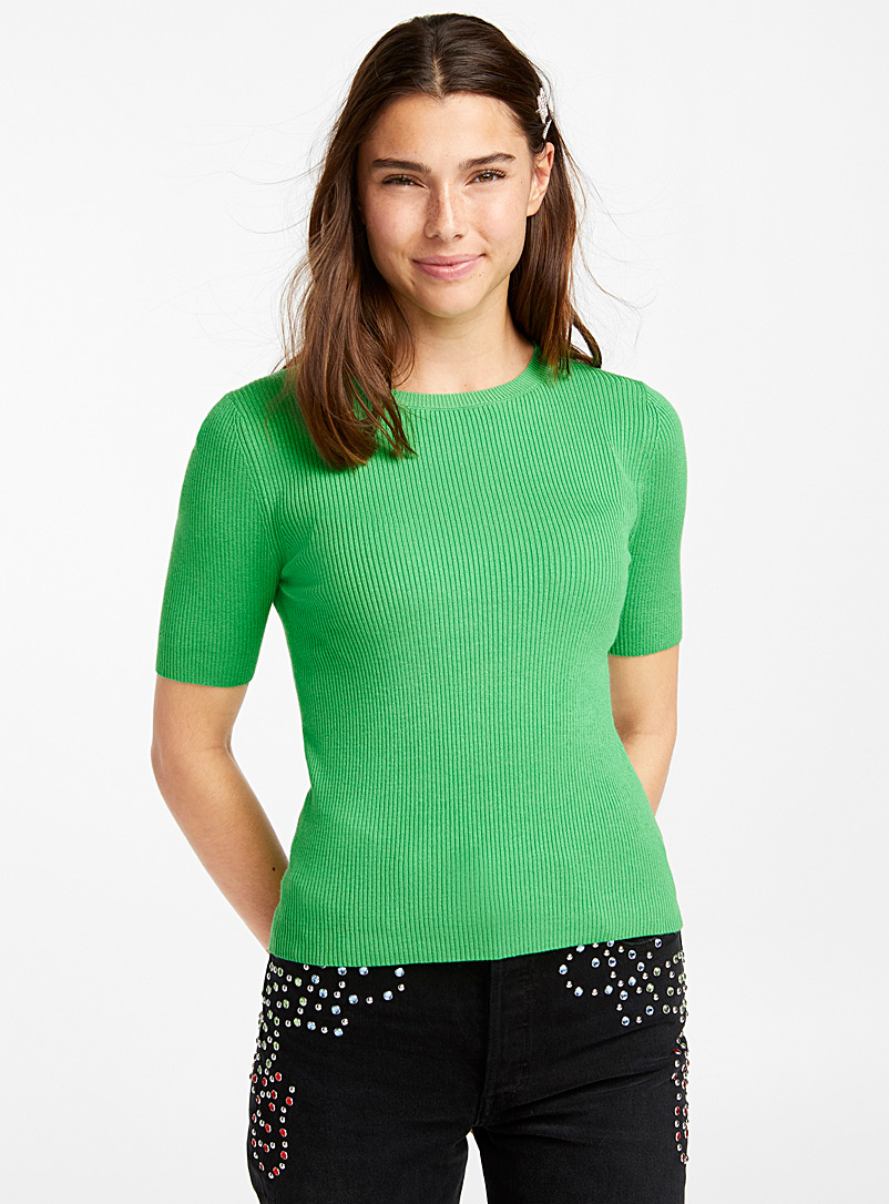 Ribbed short-sleeve sweater - Sweaters - Bottle Green