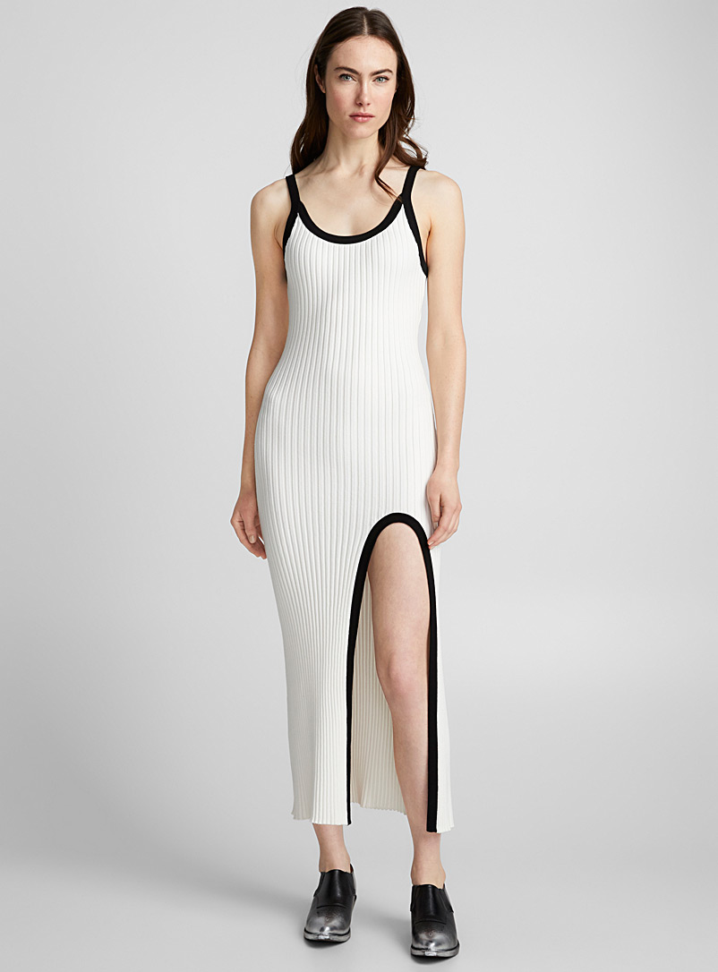 Accent-touch ribbed dress - LECAVALIER + Édito - Ivory White