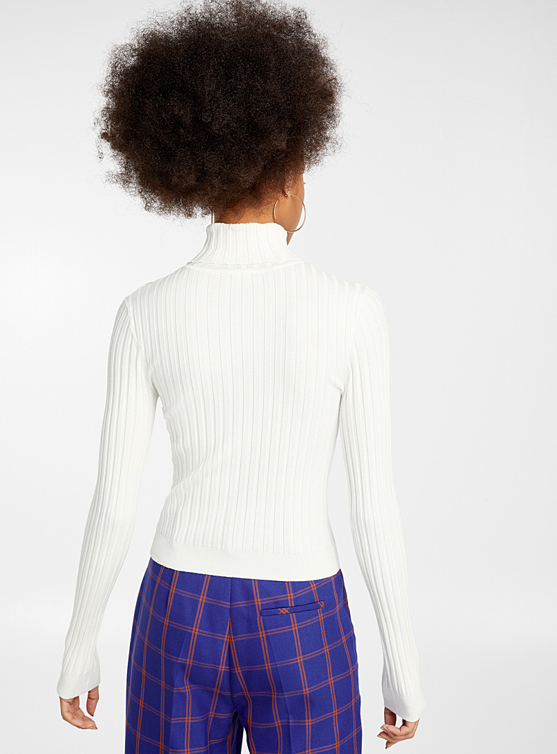 Solid ribbed turtleneck - Sweaters & Cardigans - Ivory White