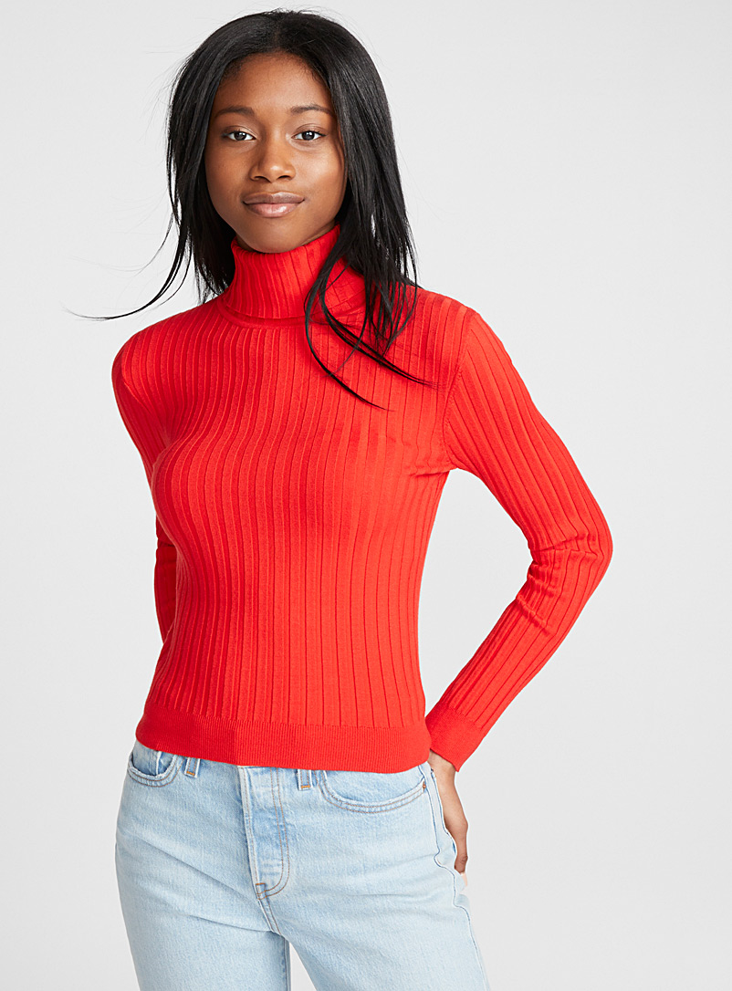 Solid ribbed turtleneck - Sweaters & Cardigans - Red