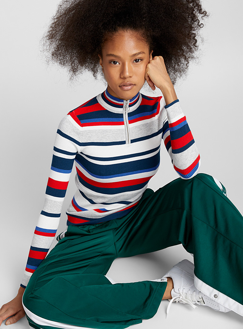 Fitted ribbed half-zip mock neck - Sweaters - Red
