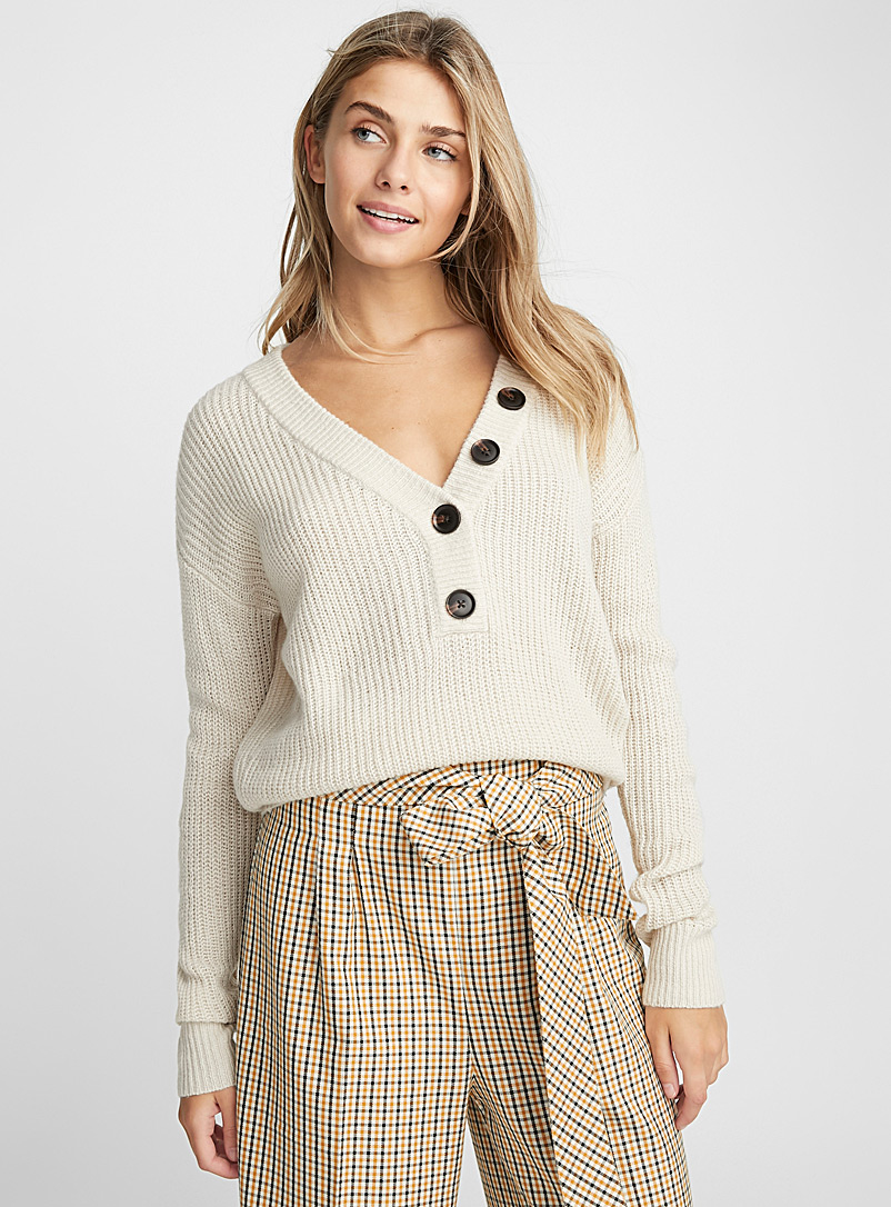 Buttoned V-neck sweater - Sweaters - Cream Beige