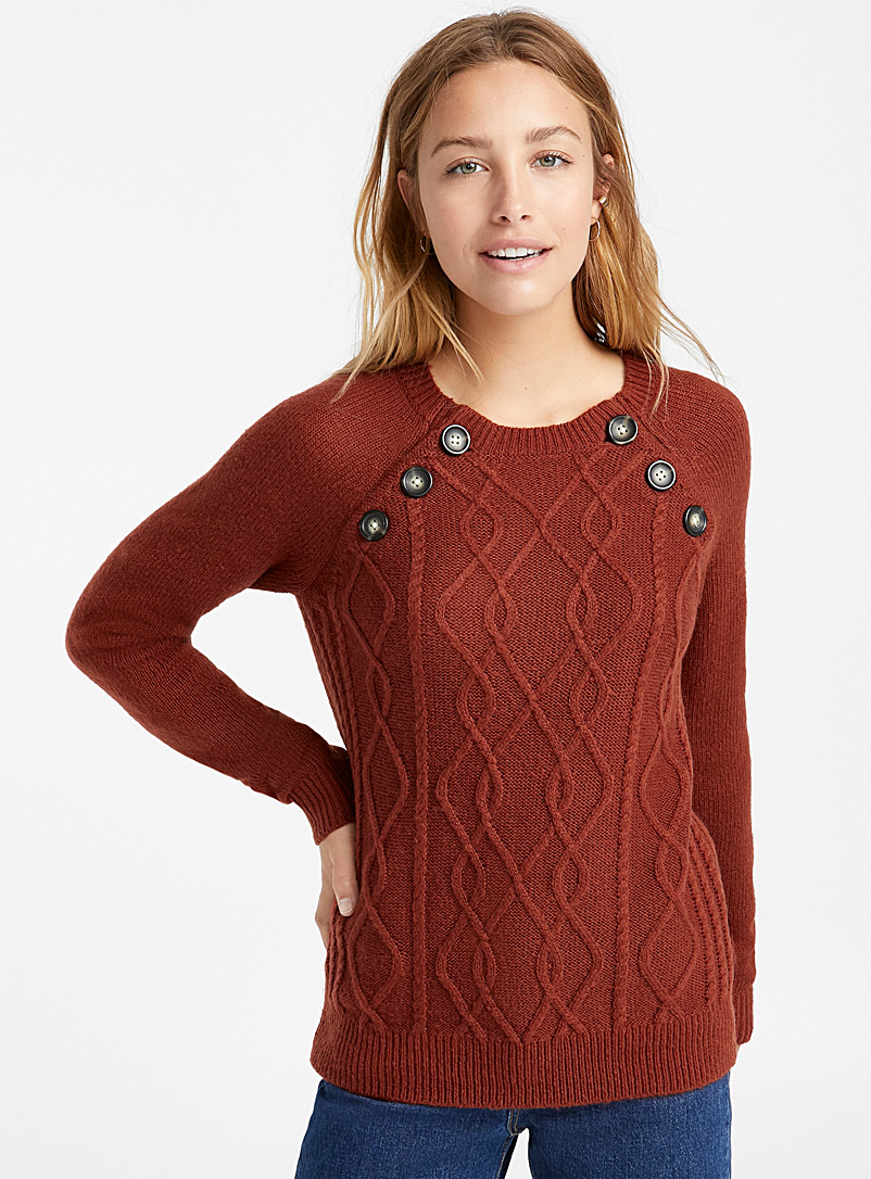 Buttoned cable knit sweater - Sweaters - Copper