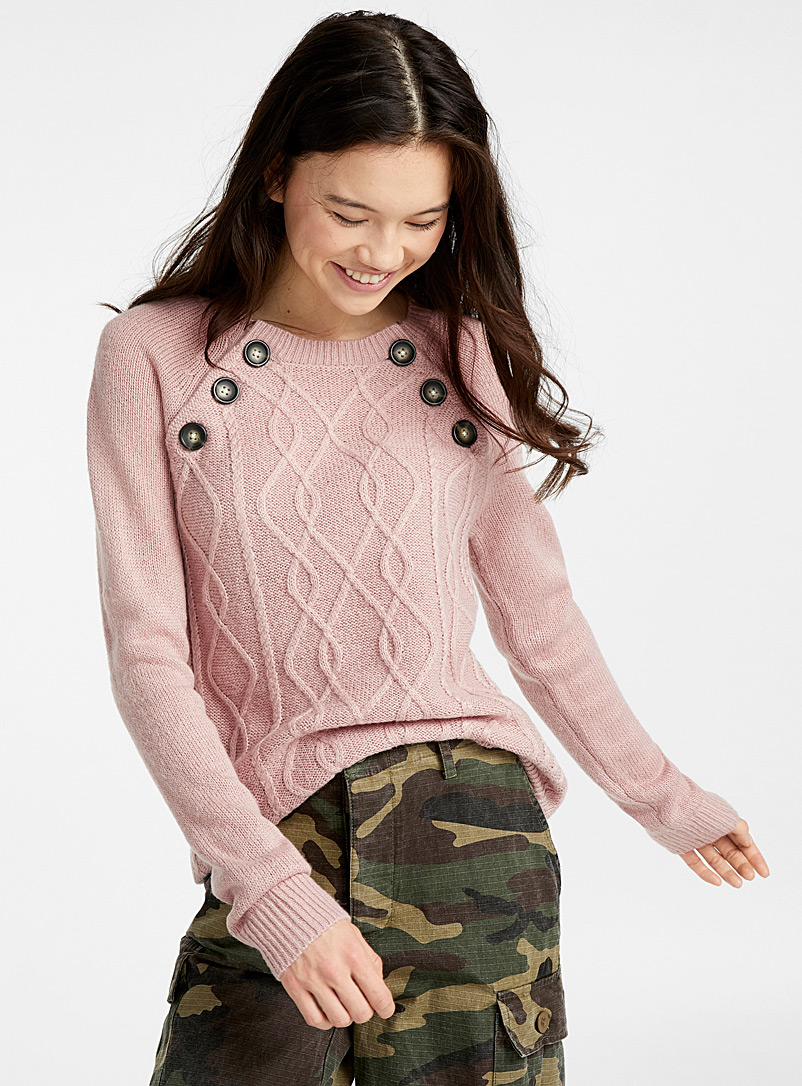 Buttoned cable knit sweater - Sweaters - Dusky Pink