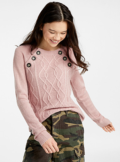 Buttoned cable knit sweater