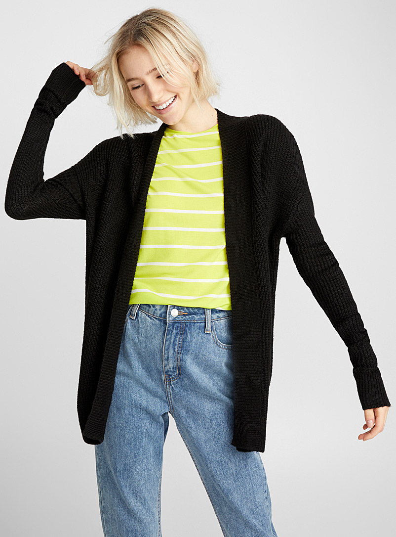 Open ribbed cardigan - Cardigans - Black