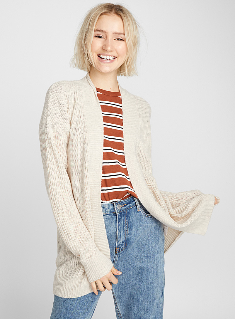 Open ribbed cardigan - Cardigans - Cream Beige