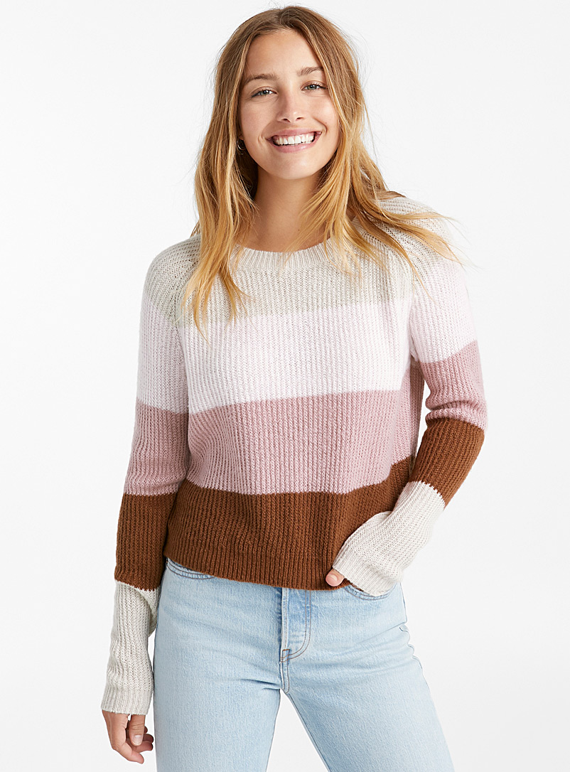 Cropped block stripe sweater - Sweaters - Dusky Pink
