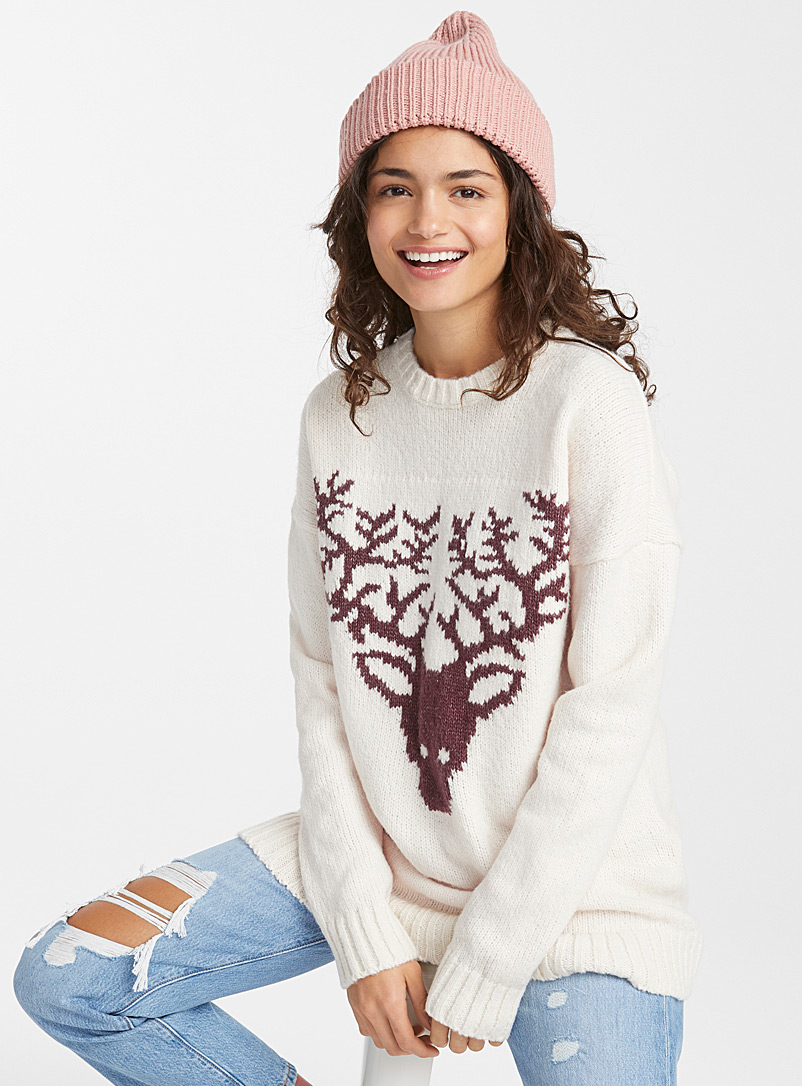 Twik Ivory White Wild deer tunic sweater for women