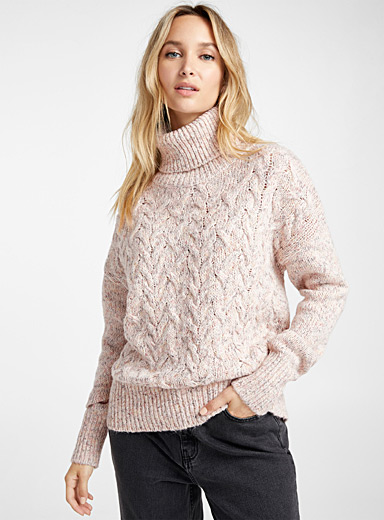 Twisted heathered turtleneck