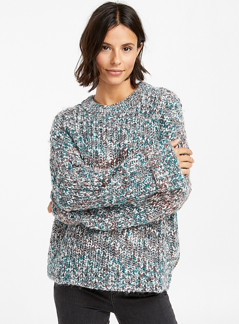Multicoloured chunky-knit sweater - Sweaters - Mossy Green