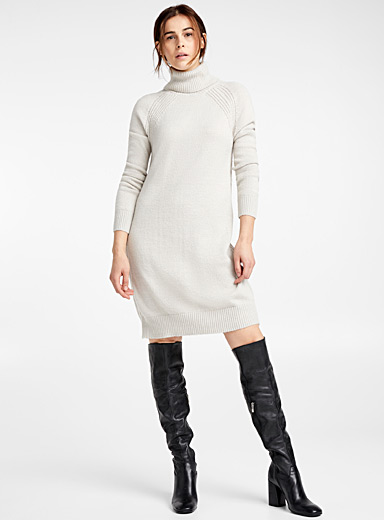 Ribbed-trim turtleneck dress