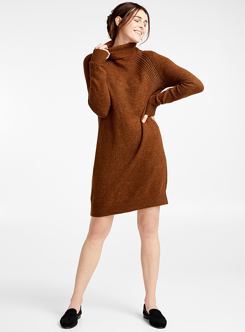 Ribbed-trim turtleneck dress - Straight - Brown