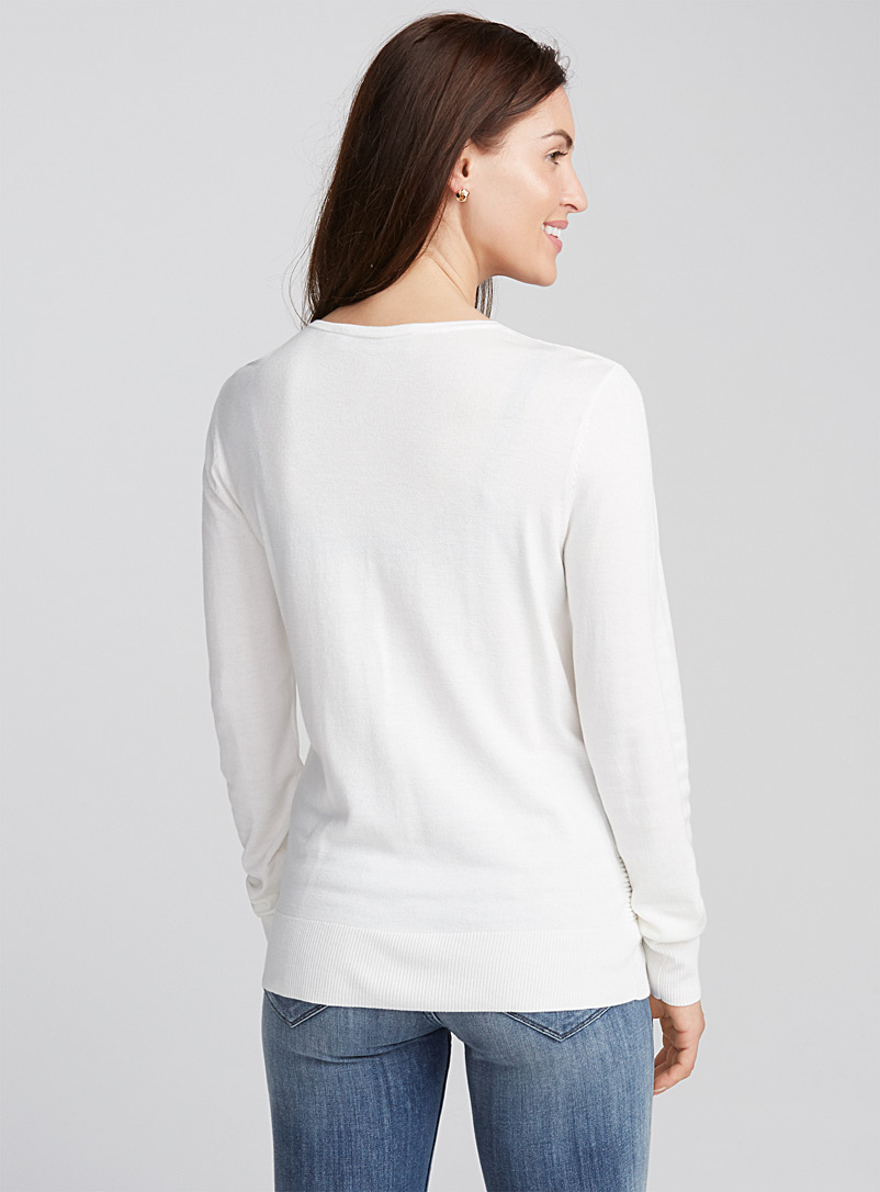 Le pull insertion ottoman - Pulls - Ivoire blanc os