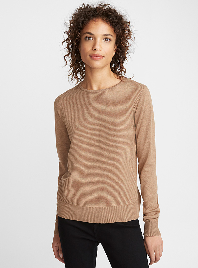 Le pull insertion ottoman - Pulls - Brun pâle-taupe