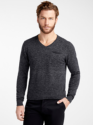 Le 31 Oxford Rolled V-neck sweater for men