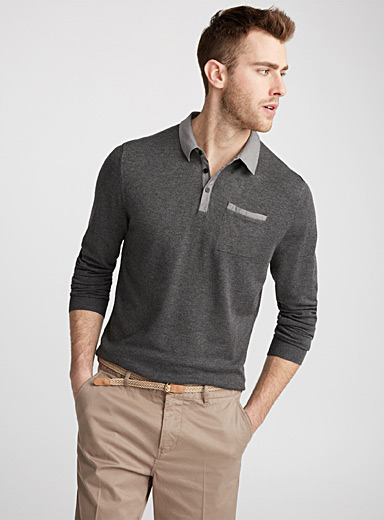 Le pull col polo accent chambray