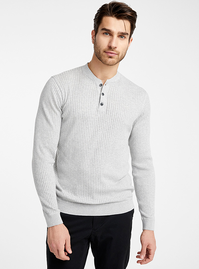 Le 31 Oxford Organic cotton ribbed sweater for men
