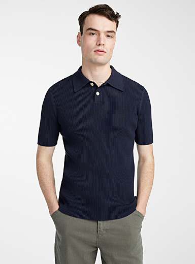 Ribbed knit polo