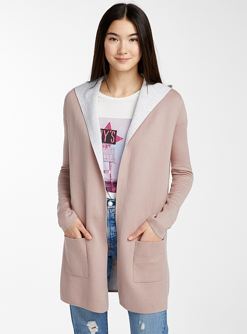 Patch pocket cardigan - Cardigans - Dusty pink