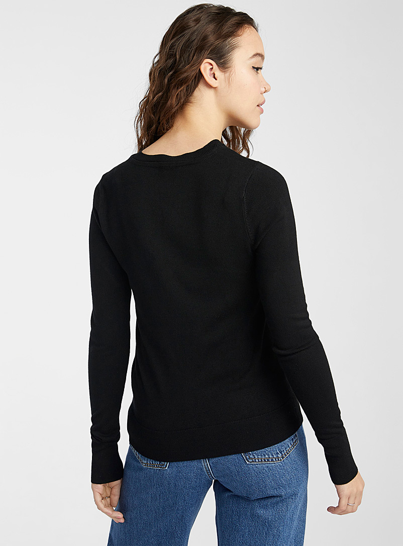 Solid crew neck sweater - Sweaters - Black