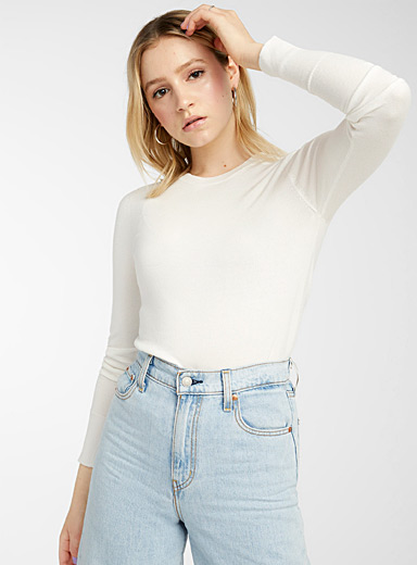 Twik Ivory White Solid crew neck sweater for women