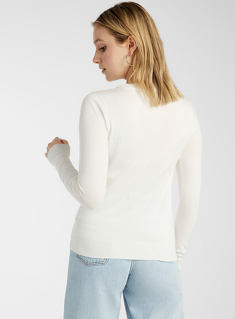 Solid crew neck sweater - Sweaters - Ivory White