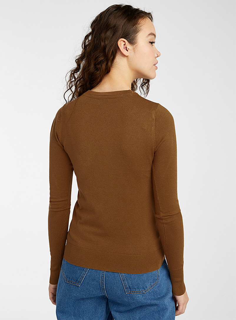Solid crew neck sweater - Sweaters - Light Brown