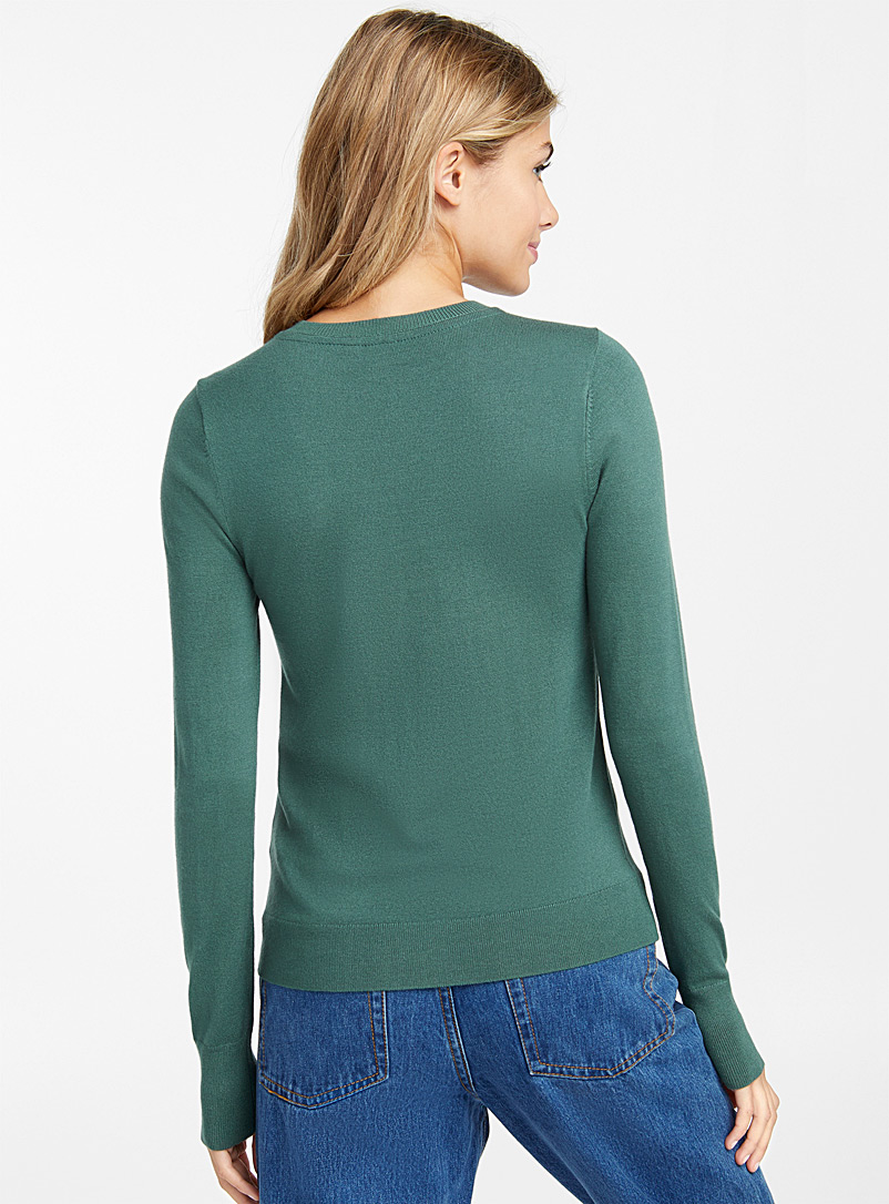 Solid crew neck sweater - Sweaters - Bottle Green