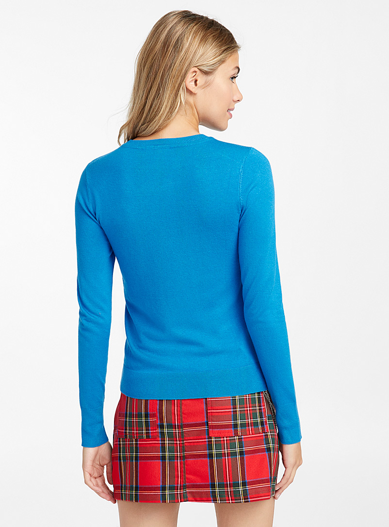 Solid crew neck sweater - Sweaters - Sapphire Blue