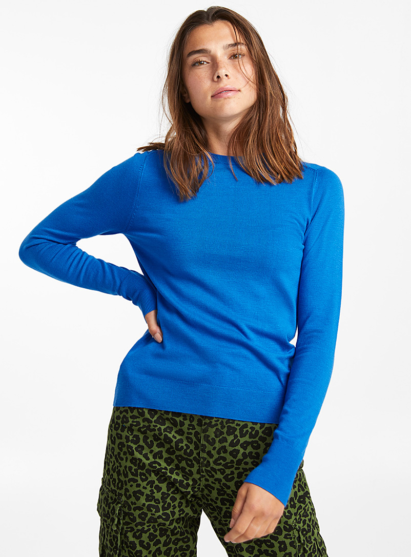 Solid crew neck sweater - Sweaters - Patterned Blue
