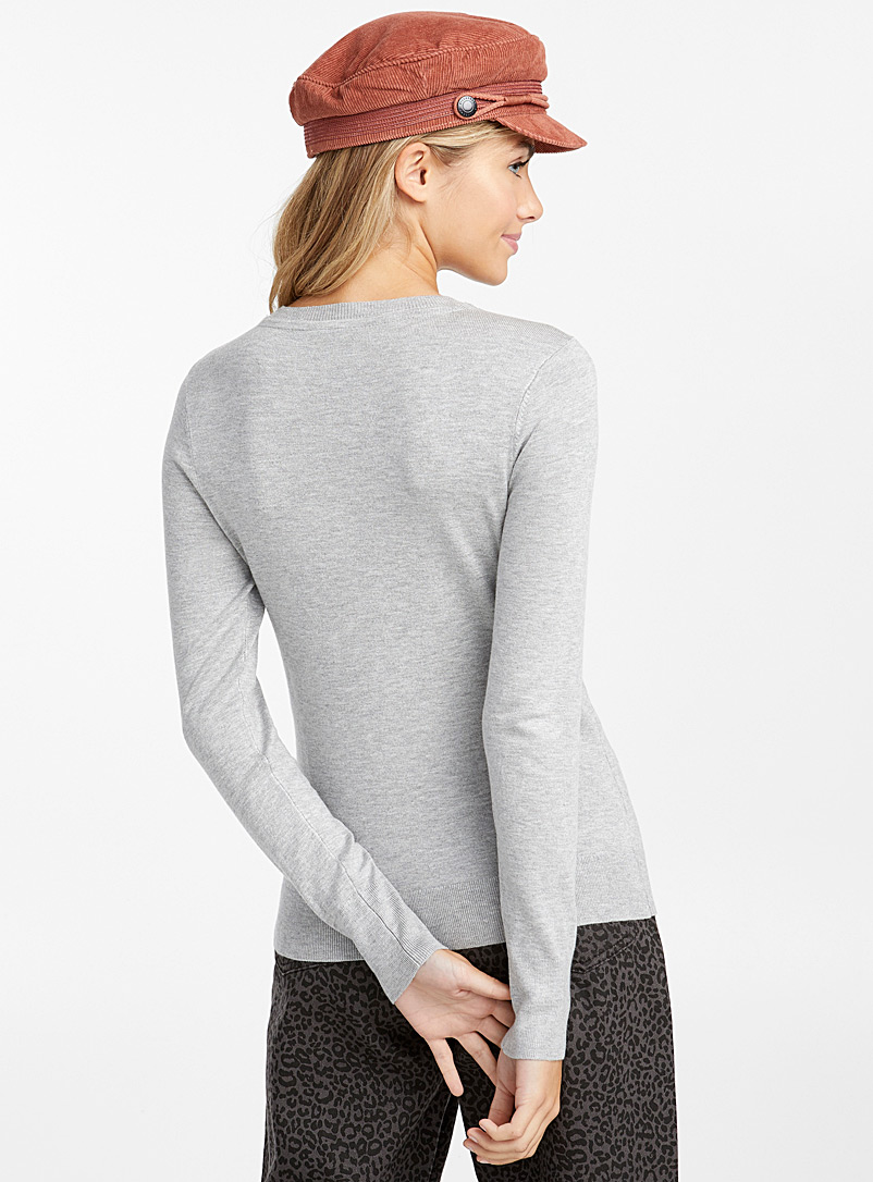 Solid crew neck sweater - Sweaters - Light Grey