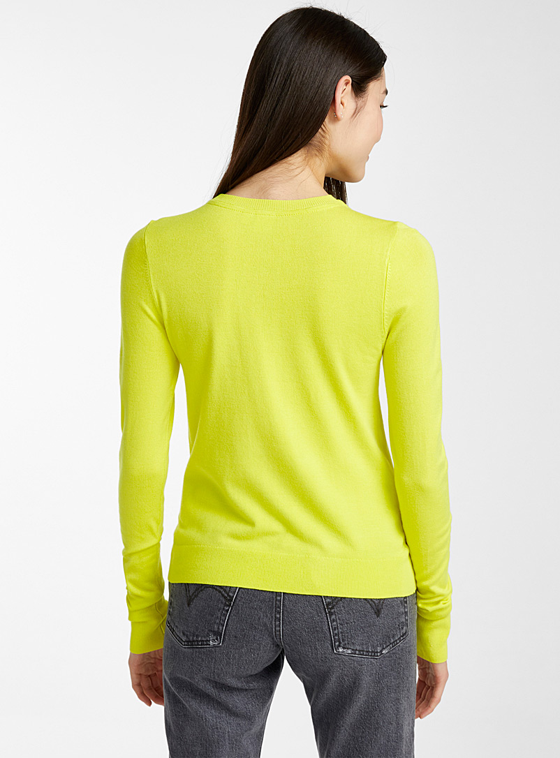 Solid crew neck sweater - Sweaters - Bright Yellow