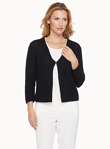 Cropped textured-knit cardigan