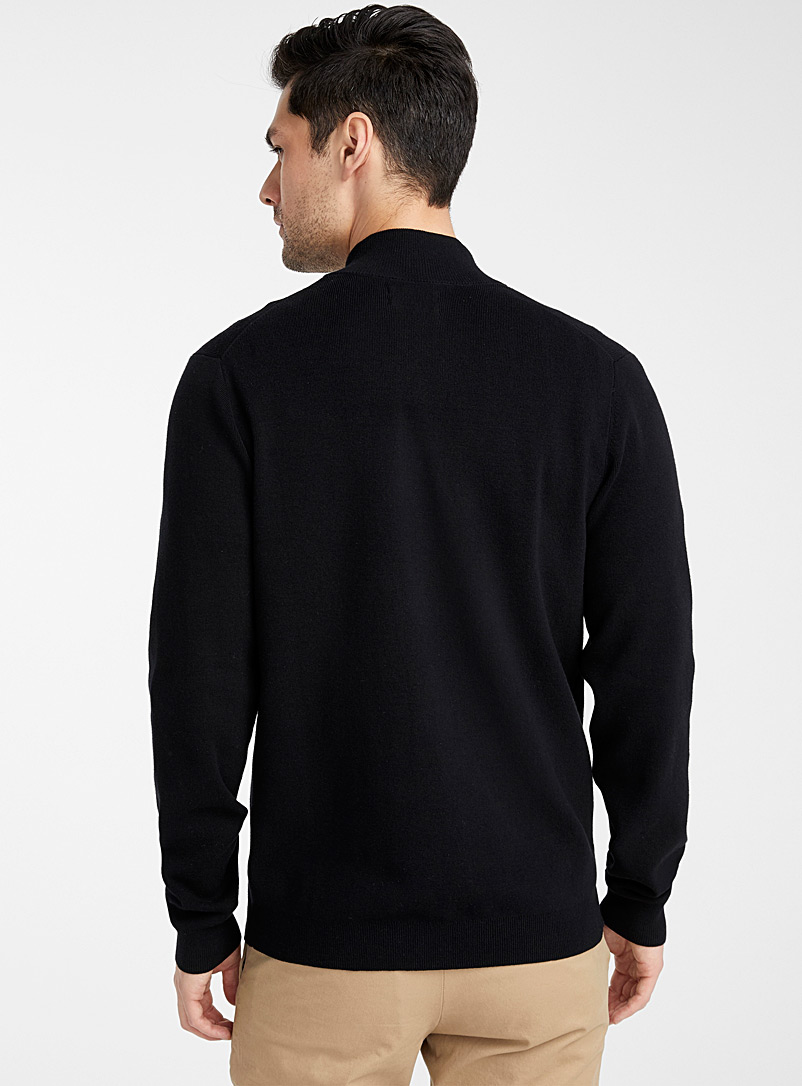 Minimalist zip cardigan - Turtlenecks & Mock necks - Black