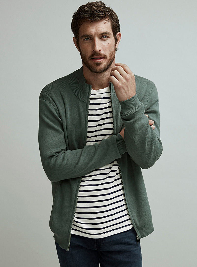 Le 31 Mossy Green Minimalist zip cardigan for men