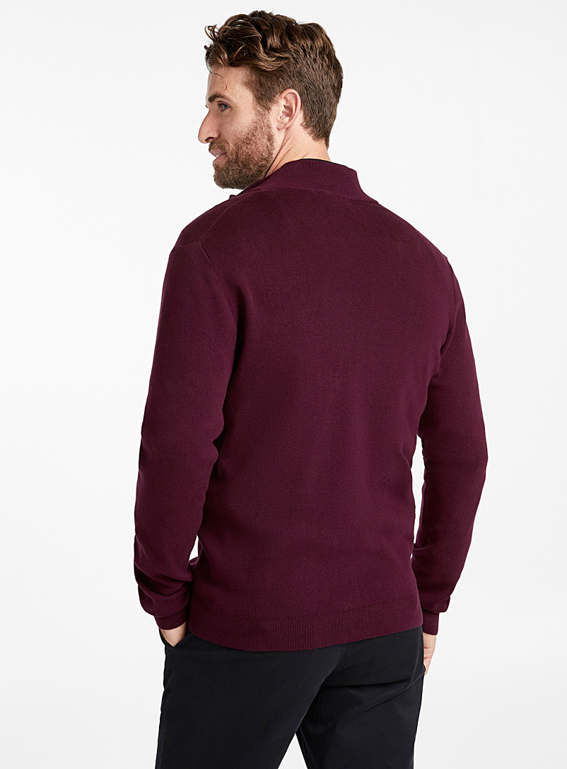 Minimalist zip cardigan - Turtlenecks & Mock necks - Dark Crimson