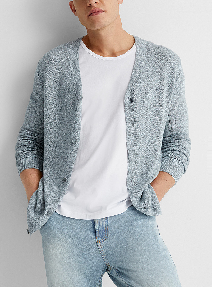 Le 31 Ivory White Lightweight knit cardigan for men