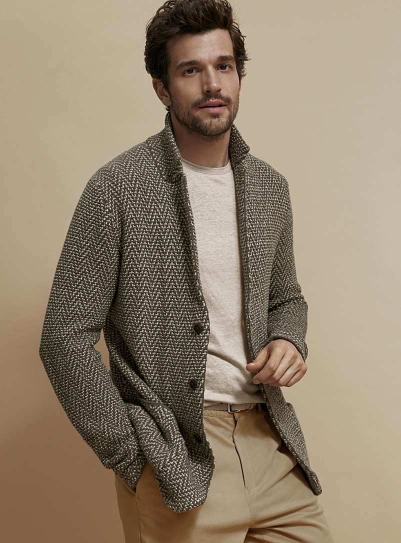 Le 31 Light Grey Chevron piqué-knit cardigan for men