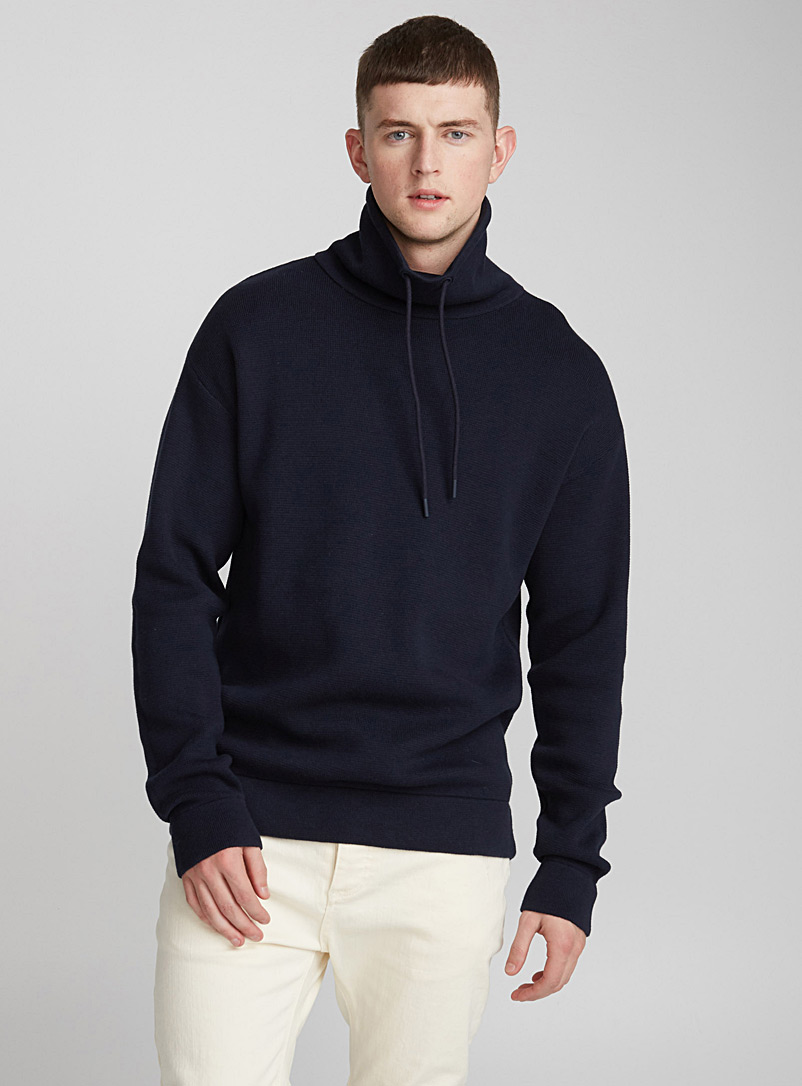 Minimalist tunnel-neck sweater - Cotton - Marine Blue
