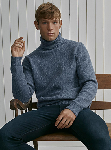 Heathered knit turtleneck sweater